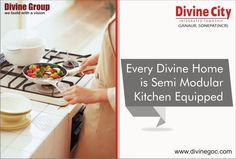 Semi Modular kitchen of #Divine #Home would help to enjoy cooking with all modish amenities.