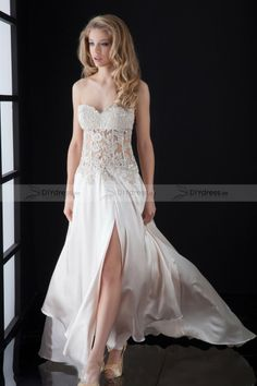 ivory lace&lace prom dress