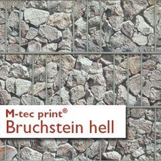 M-tec print bedruckte PVC Streifen Bruchstein hell
