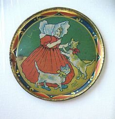 AMSCO U s A Litho Tin Child's Tea Set Plate of Sunbonnet Girl and Two Cats