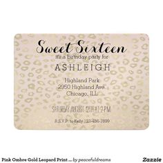 Pink Ombre Gold Leopard Print Sweet Sixteen 5x7 Paper Invitation Card
