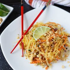 """Spaghetti Squash Pad Thai-maybe without all the sauce, or a healthy version. :) must try this """"spaghetti squash""""!"""