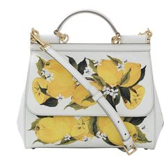 Dolce & Gabbana  Lemon Print Medium Sicily Bag ($2,595) ❤ liked on Polyvore featuring bags, handbags, shoulder bags, flap purse, white purse, pocket purse, white shoulder bag and flap handbags