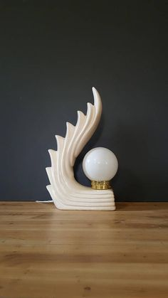 "Mid Century Lamp ~ Vintage ""Ceramic Art Deco Wave Table Lamp with Milk Glass Globe"