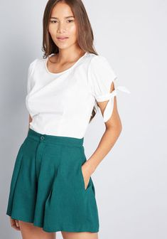 Thinking about zipping into these woven shorts and heading off on an adventure? Don't hesitate - explore the world! With pleated legs, roomy pockets,. Clothing Staples, Summer Trends, High Waisted Shorts, Modest Fashion, Fashion Outfits, Modcloth, Summer Outfits, Summer Clothes, Short Dresses
