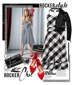 """Rocker Chic"" by ellie366 ❤ liked on Polyvore featuring Schutz, Karen Millen, Karl Lagerfeld, Michael Kors, Steve Madden, MAC Cosmetics, GetTheLook, rockerchic, gingham and rockerstyle"