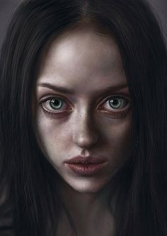"""Katherine"" - Elena Sai {figurative realism art female head dramatic woman face portrait. """