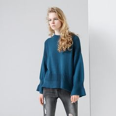 Must-have Oversized Split Front Flare Sleeves Scoop Neck Split Knitted Sweater Essential Top - OACHY The Boutique Fashion 2017, Fashion Outfits, Korean Outfits, Pullover Sweaters, Korean Fashion, Casual Outfits, Tunic Tops, Clothes For Women, Trending Outfits