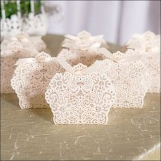 Embossed Lace And Gold Foil Favor Boxes Set Of 10
