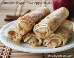 Cinnamon apple sticks. Made these with less sugar, using lavash wrap instead of flour tortillas, chopped apples mixed with cinnamon and apple sauce instead of apple pie filling, grapeseed oil instead of butter. Baked at 350 for 13 min. yum!