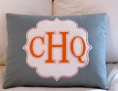 Felt pillow....grey & tangerine monogram