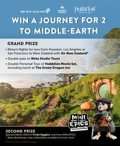 Win a Trip to New Zealand to visit Middle-Earth. Hobbits Lord of the Rings giveaway sweepstakes sweeps giveaway contest