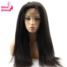 Atina Queen 180 Density Italian Yaki Straight Lace Front Human Hair Wigs for Black Women Natural Pre Plucked with Baby Hair Remy #Affiliate