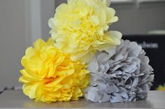 6 Baby shower Poms Yellow & Gray by SweetTeaPaper on Etsy