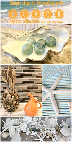 Simple steps to decorating with beach inspired collections #DIY #decorating #freshideastudio