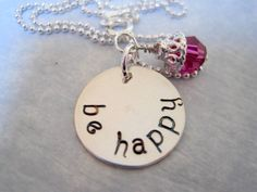 Be Happy Hand Stamped Necklace Sterling Silver by marybeadz, $30.00