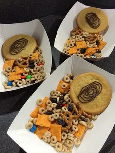 Agency D3 snacks: Thumbprint Cookies and Hot on the Trail Mix  Sugar Cookies with chocolate icing piped on as fingerprints   Peanut free trail mix with Cheerios, cheezits, pretzels, raisins, and mm's.  VBS vacation bible school