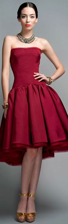 red midi burgundy dress @roressclothes closet ideas #women fashion outfit #clothing style apparel