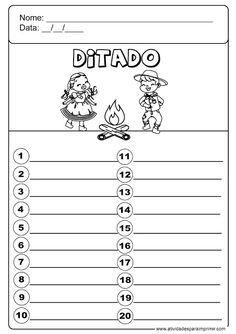 Ditado Junino / julino Math, Words, School, 1, Literacy Activities, Writing Activities, Kids Reading, Kids Education, Dyslexia