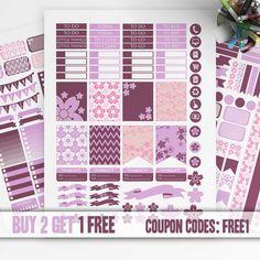 Cherry Blossom Planner Stickers Printable, Erin Condren Sticker, Monthly/Weekly Kit, Printable Sampler, Erin Condren kit, Instant download