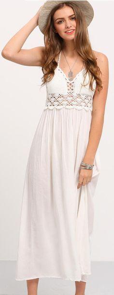 SheIn - Halter Backless Lace Insert Maxi Dress