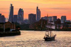 Heritage Sailing, Sailing Boat up the River Thames, London, England