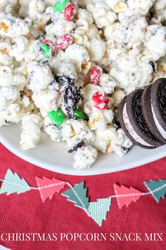 Christmas Popcorn Snack Mix - made with air popped popcorn, white chocolate, cake batter, mint Oreos and M&Ms. It's a delicious snack make for the holidays!