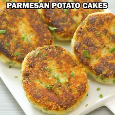 Parmesan Potato Cakes - COOKTORIA'S VIDEO RECIPESOf all the new recipes I've made recently, these Parmesan Potato Cakes are one of the biggest hits in my kitchen. This recipe is simple, requires little ingredients, and yields delicious results. Potato Dishes, Veggie Dishes, Vegetable Recipes, Food Dishes, Cooking Vegetables, Main Dishes, Indian Food Recipes, New Recipes, Vegan Recipes