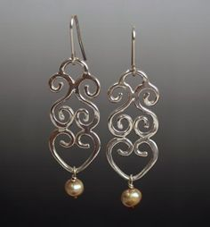 Natalie Nichols Jewelry: Ironlace Earrings sterling silver pearls