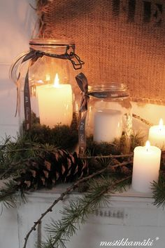 WINTER DECOR: Old Canning Jars filled with candles and decorated with pine. Primitive Christmas, Country Christmas, Winter Christmas, All Things Christmas, Christmas Holidays, Christmas Crafts, Xmas, Vintage Christmas, Decorations Christmas