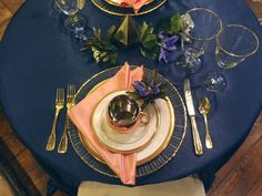 Navy Coral Copper and Gold Table Inspiration
