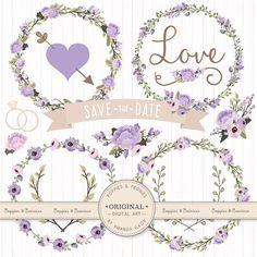 Premium Wedding Floral Clipart & Vectors Lavender by AmandaIlkov