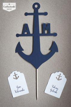 Wedding place card with anchor / Winietki z motywem kotwicy