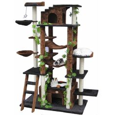 This large cat tree by Go Pet Club has ample space for multiple cats. It features numerous platforms for climbing, scratching areas, and toys to keep your cat entertained. It also includes two den areas, providing pets a secure place to sleep.