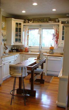 Narrow kitchen island.