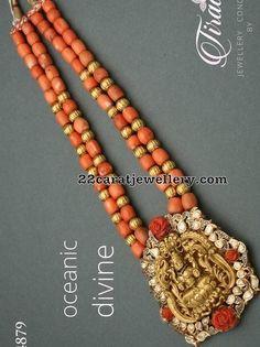 Coral Beads Long Set with Lakshmi Pendant Bead Jewellery, Stone Jewelry, Pendant Jewelry, Beaded Jewelry, Temple Jewellery, Emerald Jewelry, Gold Jewelry, Diamond Jewelry, Jewelery