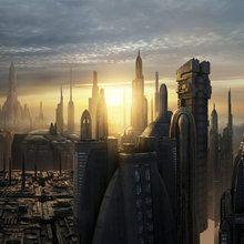 Valokuvatapetti - Star Wars - Coruscant Buildings Sunset