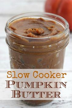 Slow Cooker Pumpkin Butter - easy to make in your crockpot! Delicious, creamy - PUMPKIN! If you like apple butter, you will love this pumpkin butter recipe. Perfect for biscuits, toast, and more.