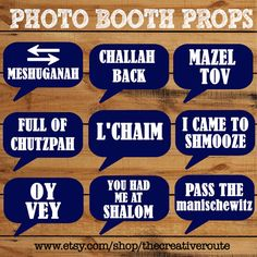 Party Photo Booth Props Printable - Funny sayings for any Jewish party or event.  Bar Mitzvah, Bat Mitzvah, Wedding , or Jewish Holiday Photo booth Props #JewishPhotoboothProps