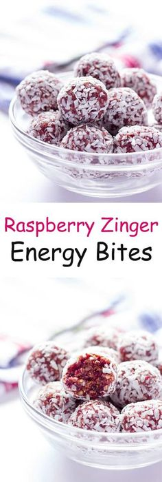 Peanut Butter Energy Bites Raspberry Zinger Energy Bites - Healthy raspberry and coconut flavored energy balls made with just fruit and nuts!Raspberry Zinger Energy Bites - Healthy raspberry and coconut flavored energy balls made with just fruit and nuts! Protein Bites, Protein Snacks, Energy Snacks, Protein Ball, High Protein, Healthy Sweets, Healthy Snacks, Fruit Snacks, Fruit Cups