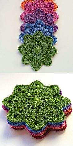 Flower Coasters Free Crochet Pattern Free crochet pattern for crochet flower motifs, Crochet Coasters Free Patterns To Party It Up With CozyFlower Potholders Coasters [Free Crochet Pattern and… Crochet Diy, Crochet Motifs, Crochet Dishcloths, Crochet Flower Patterns, Crochet Squares, Crochet Home, Crochet Gifts, Crochet Doilies, Crochet Flowers