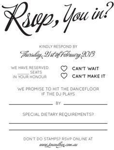 RSVP & song request  wording.