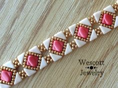 Coral and Gold Backsplash Bracelet