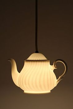 Teapot light - I love these repurposing ideas...especially I love unusual lighting.