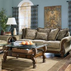 We Love This Barcelona Antique Living Room Set In Our Store Sofa Loveseat Cocktail Table And