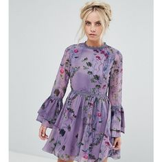 Little Mistress Petite All Over Floral Skater Dress With Fluted Sleeve... (139 AUD) ❤ liked on Polyvore featuring dresses, petite, purple, purple prom dresses, lace prom dresses, floral skater dresses, petite party dresses and sleeve maxi dress