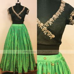 Beautiful parrot green lehenga and emrald green over laping blouse with hand embroidery gold thread work from Shivani. <br> For enquiry/order shivani@intricado.com Whatsapp:- +91 8527463626. 06 July 2017