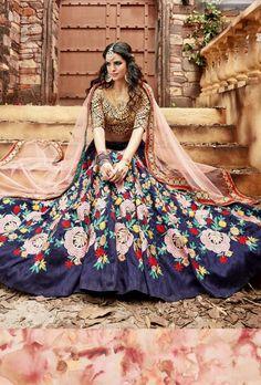 Blue Designer Party Wear Lehengha - Desi Royale  - 1