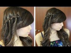 Boho Waterfall Twist Hairstyle for Medium Long Hair Tutorial - YouTube