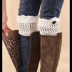 Host Pick 2/9/16  White Boot Cuffs New white boot cuffs. Bundle and save. Shoes Heeled Boots